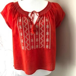 3/$30 Forever 21 Orange Embroidered Peasant Top Sm